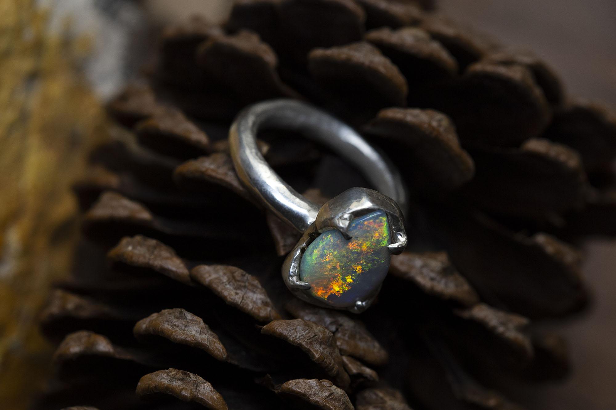 Australian Opal Solitaire Ring
