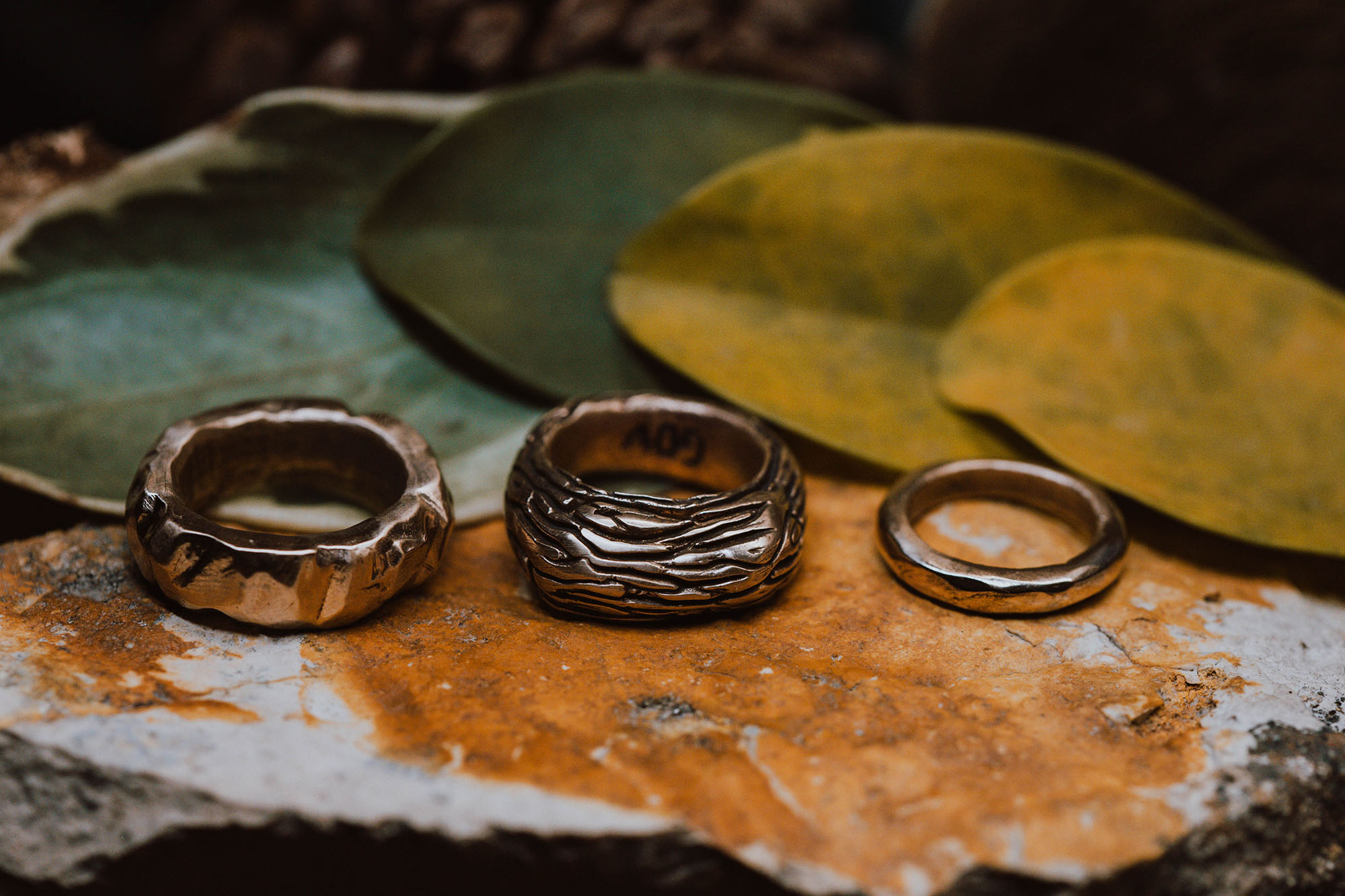 Hand-Carved Bronze Rings