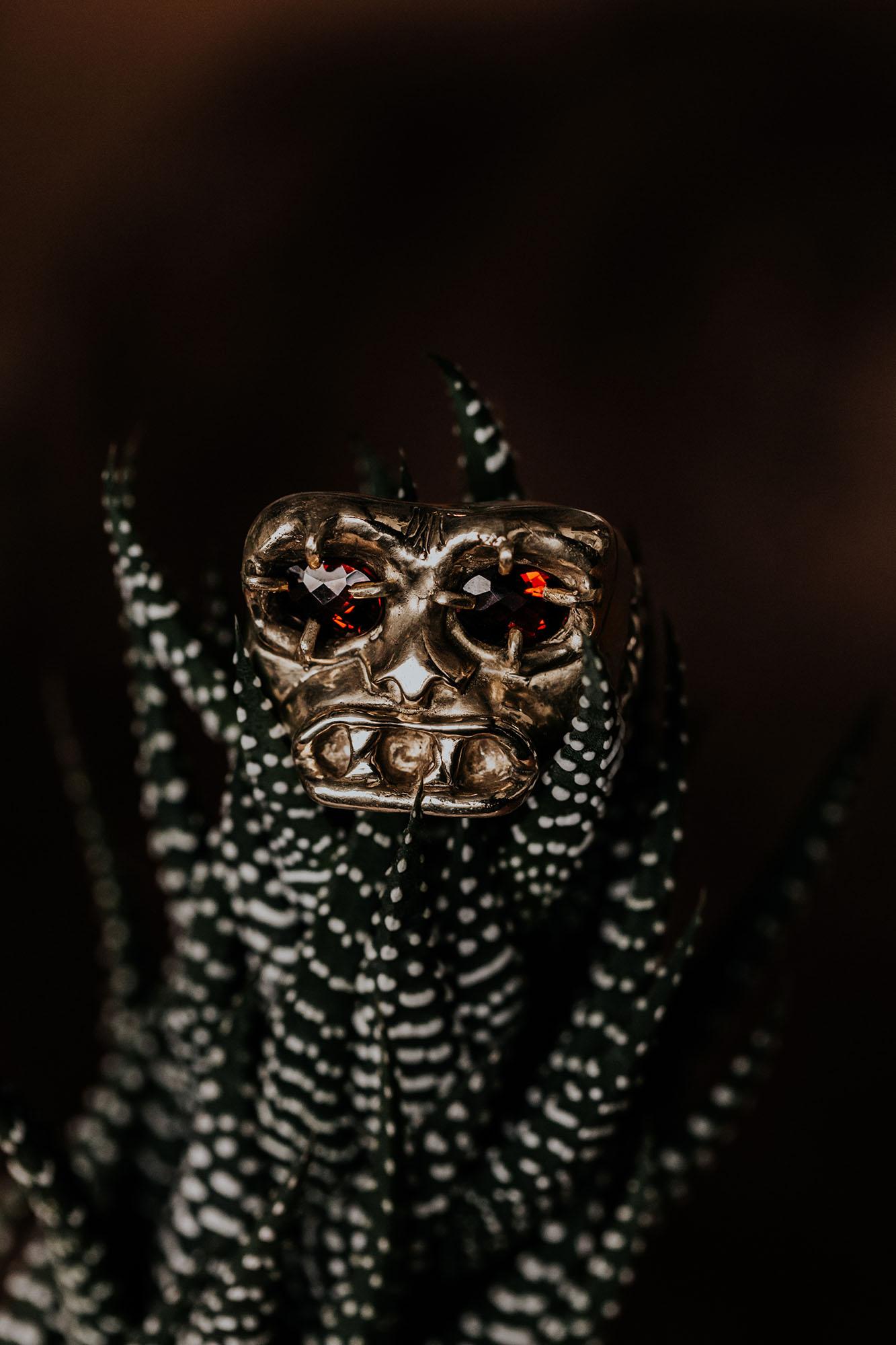 Artisan Jewellery Skull Ring with Gemstones