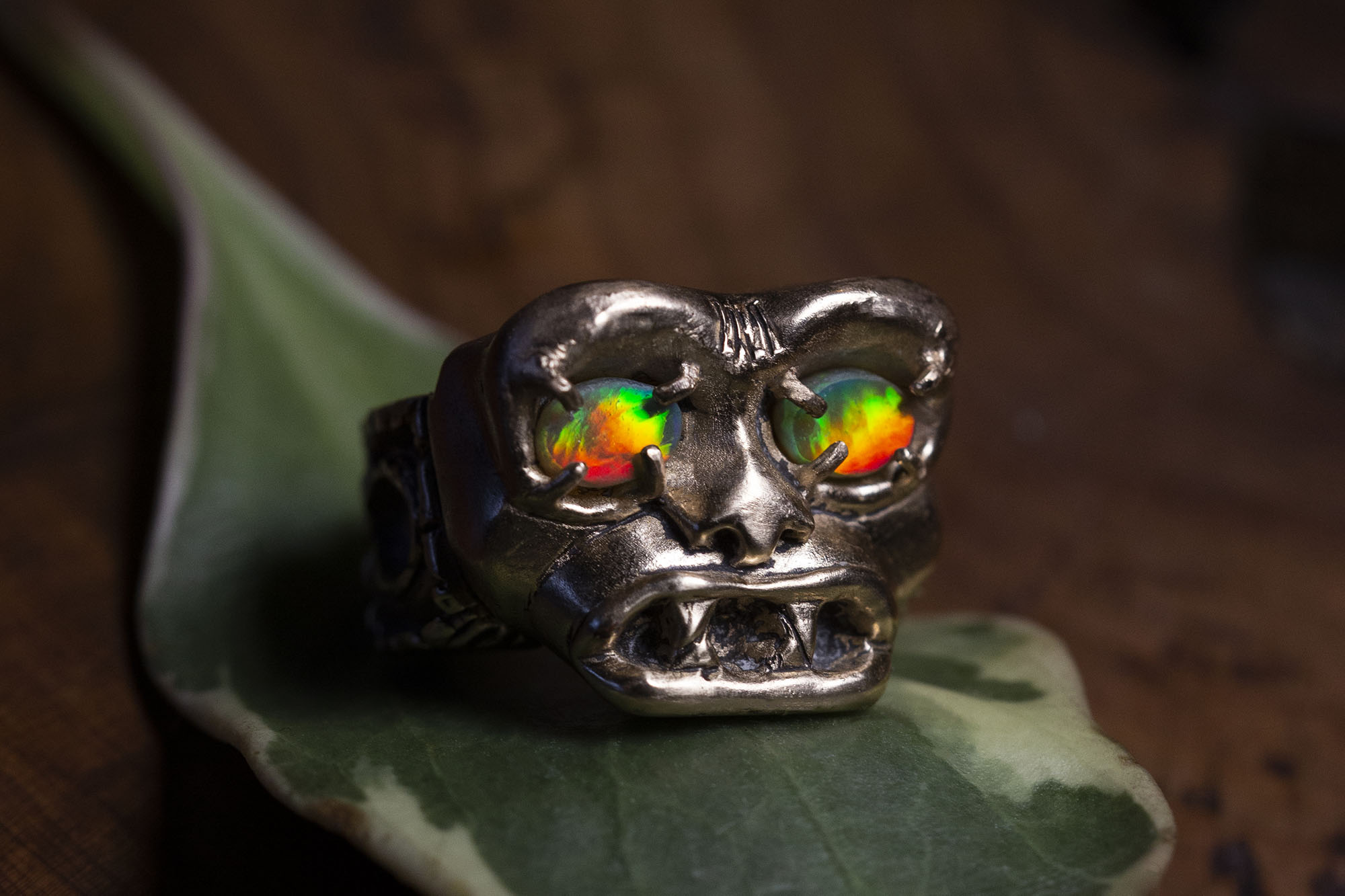 Gothic Style Skull Ring with Opals